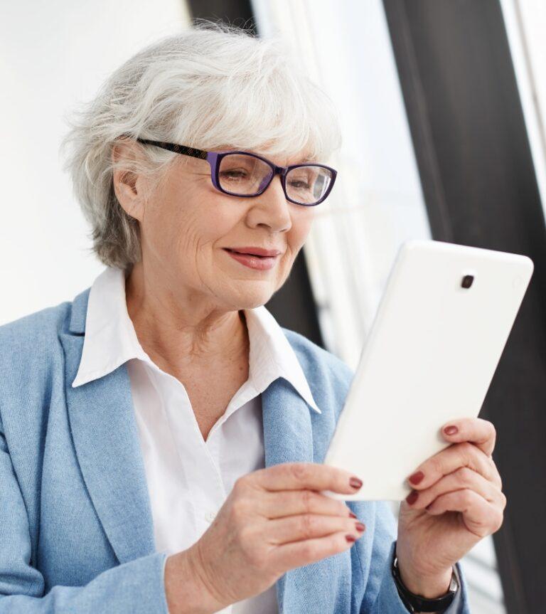 Elderly Woman Browsing the website